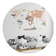 Vinilo Decorativo Infantil Mapa Animalitos Nordico 90x120cm