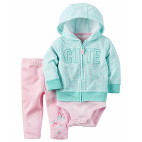 Roupa De Bebe Cj Carters 3pç Body Calça Borboleta Blusa Cute