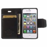 Capa Carteira Flip Cover Preto Para Celular Iphone 4s & 4g