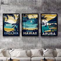Nuevo! Cuadros Retro Vintage Hawaii Aruba Costa Rica 3pz