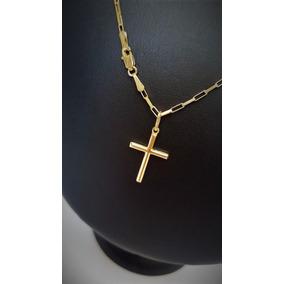 Correntinha De Ouro Masculina 18k Com Pingente Crucifixo