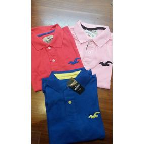 Kit 3 Camisa Gola Polo Hollister Camiseta Diversas Cores
