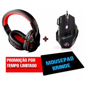 Kit Headset + Mouse Gamer 3000dpi Profissional Usb Luminoso