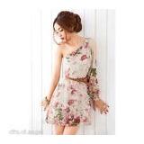Vestido Precioso De Chifon Una Sola Manga Falda Mini