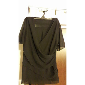 Camisa De Vestir De Gasa Negra-talle Medium(3)-impecable-