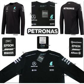Playera Mercedes Amg Petronas F1 Manga Larga Hamilton 2017
