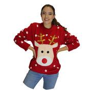 Suéter Ugly Sweater Rojo Rodolfo El Reno Navideño