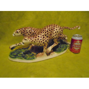 Antigua Figura Leopardo De 49 Cm Austriaca