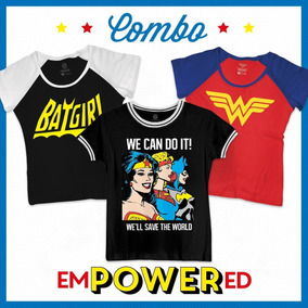 Combo Camisetas Feminina Dc Comics Girl Power Oficial