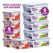 Kit 10 Potes Plásticos Herméticos Alta Qualidade Click Fresh