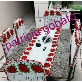 Jogo De 6 Cadeira E Caminho De Mesa Mais Cortina De Croche