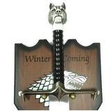 Espada Game Of Thrones Jon Snow Lobo Cabo Com Suporte Parede