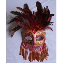 Antifaz Plumas Ceramica Carnaval. Hecho En La India