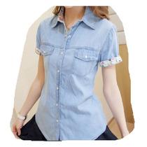 Camisa Jean Clasica Mujer Manga Corta Verano Camisas Moda