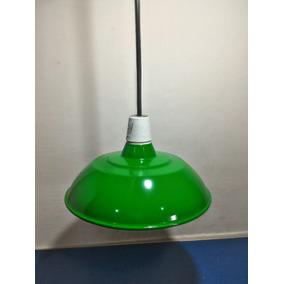 Luminaria Industrial Verde Retro Vintage Sinuca C/ Fio Preto