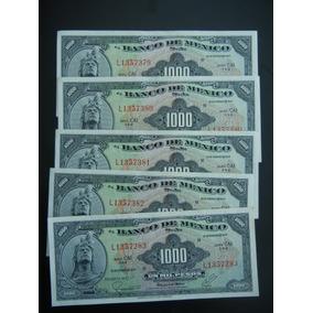 5.-antiguos Billetes $ 1000 Sin Circular 1977, Consecutivos