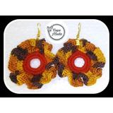 Zarcillos Aretes Argollas Tejidos Crochet Accesorio Bohochic