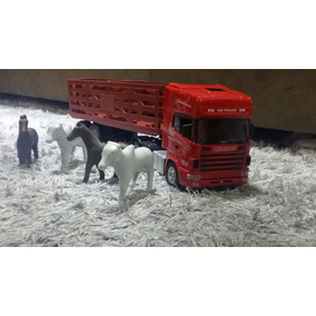 Caminhão De Controle Remoto Scania 124 Com Carreta Boiadeiro