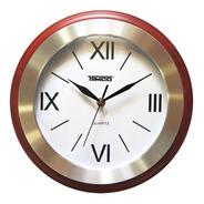 Reloj De Pared Redondo Madera Con Acero Inoxidable Ra-70-a
