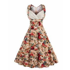 Vestido Vintage Pin Up Rockabilly Beige Flores