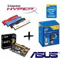 Kit Proc G1820 + Asus H81m-a + Memória 4gb Hyperx Fury