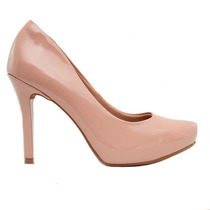 Zapato Mujer Plataforma Interna Charol Nude Taco 11cm