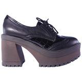 Zapatos Mujer Abotinado Cuero Charol Plataforma Base Tops