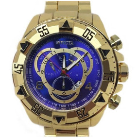 Relógio Masculino Invicta Dourado Fundo Azul