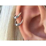 2 Piercing De Orelha Nariz Argola Prata 925 Falso Ear Cuff