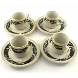 Jogo 4 Xicara De Café De Porcelana Chinesa Com Pires B4386