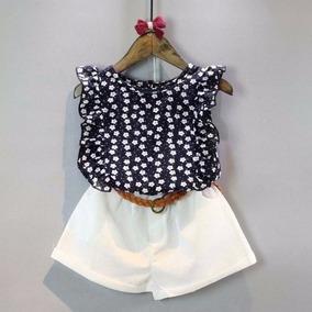Conjunto Social Infantil Short + Cinto + Blusa