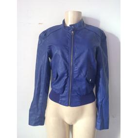 Jaqueta P, Couro Azul Bic, Impecável. Com Detalhe Na Cintura