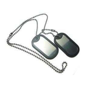 Corrente E Placa Identificação Militar Dog Tag Em Aço Inox