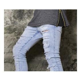 Calça Jeans Premium Masculina Rasgada Skinny Lycra Da Fabric