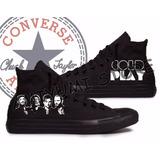 All Star Converse Coldplay Monochrome Tênis Botinha Custom