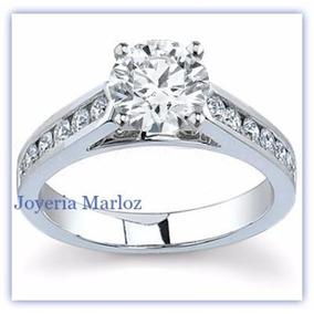 Anillo Compromiso Oro Blanco 14kt Diamante Ruso 045-14-cz