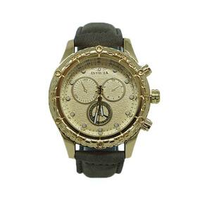 Relógio Invicta Dourado Com Pulseira De Couro