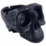 Cinzeiro Crânio Caveira De Resina Preto Black Skull