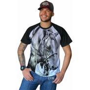 Blusa Masculina Raglan Cavalo Pra Baixo Country Tshirt