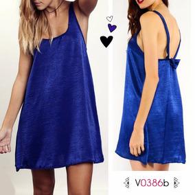 Vestido Moño Espalda Azul, Talle Unico, Codigo V0386b
