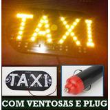 Placa Luminoso 45 Led Taxi Uso Interno Com Ventosas E Plug
