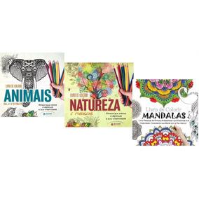 Livro-kit 3 Livros Colorir Anti-stress(animais/natureza/mand