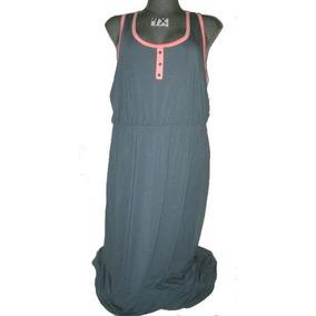 Vestido Gris/rosa Plus Casual Largo Talla 4 X Extragrande