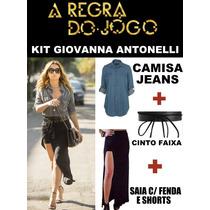 Kit Giovanna Antonelli Regra Do Jogo Camisa Jeans+saia+cinto