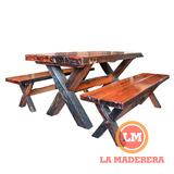 Mesa + 2 Bancos Jardín Exterior En Quebracho Madera Lustrada