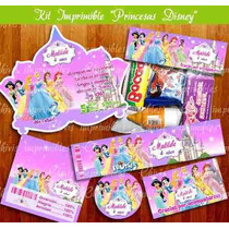 Kit Imprimible Princesas Disney Chivic Cumpleaños Invitacion