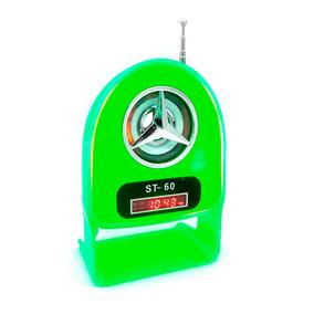 Velikka Bocina Retro Recargable Usb Fm Led Neon St-60 Verde