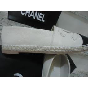 Alpargata Chanel Original Em Couro Espadrille Tamanho Grande