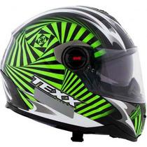 Capacete Texx Action Hypnose Dupla Viseira Verde Kawasaki