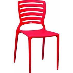 02 Cadeiras Sofia Com Encosto Vazado Vermelha Tramontina
